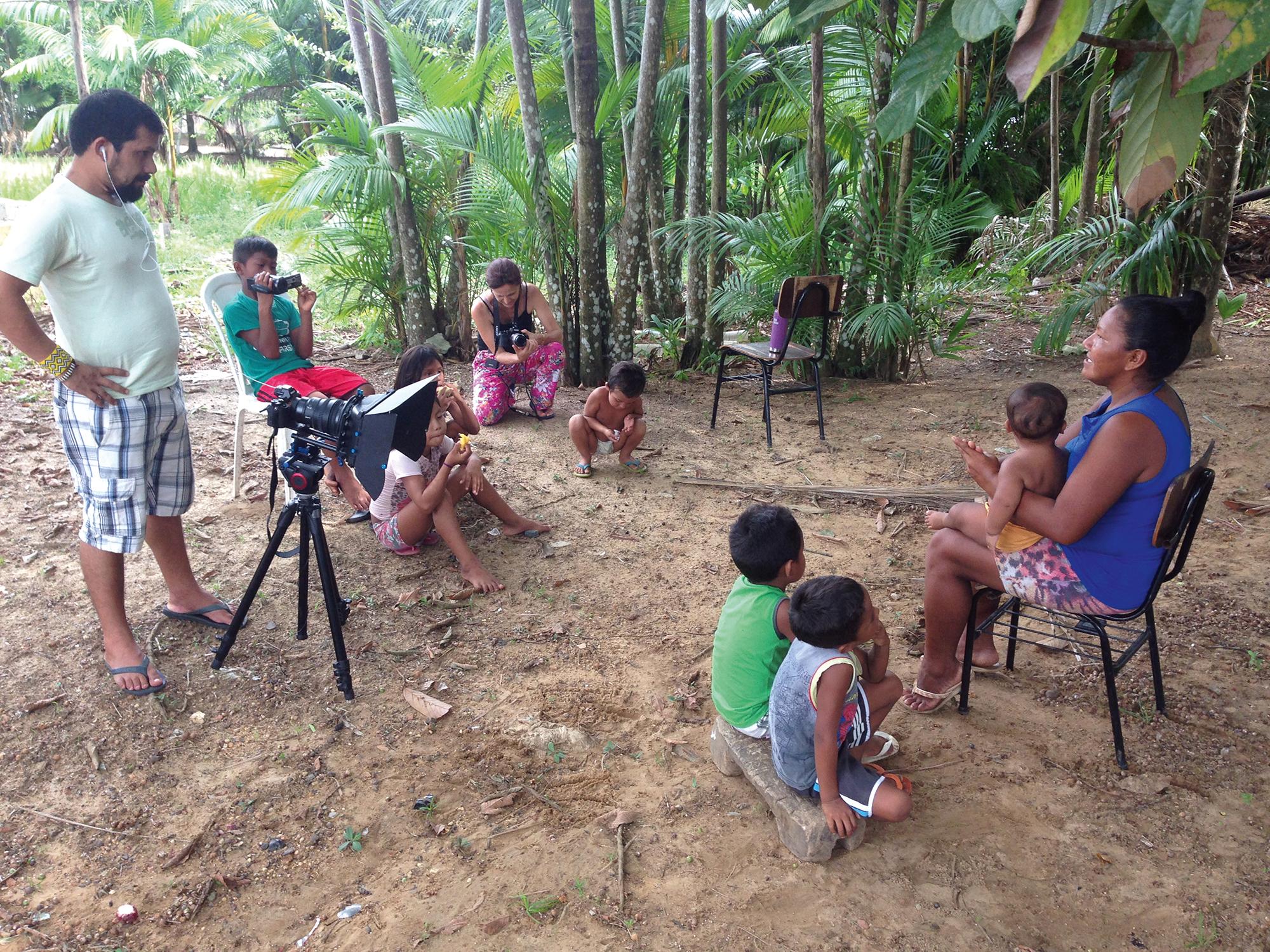 Sandriele Silva (Tukano) records stories for children