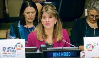 Her Royal Highness Princess Dina Mired of Jordan speaking on behalf of civil society as an 'Eminent Champion' of non-communicable diseases at the United Nations General Assembly Third High-level Meeting on NCDs in New York in 2018